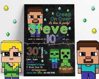 Minecraft Invitation | Minecraft Party | Mine Craft Birthday Invitation | Minecraft Birthday Invitation | Minecraft Party Invitation