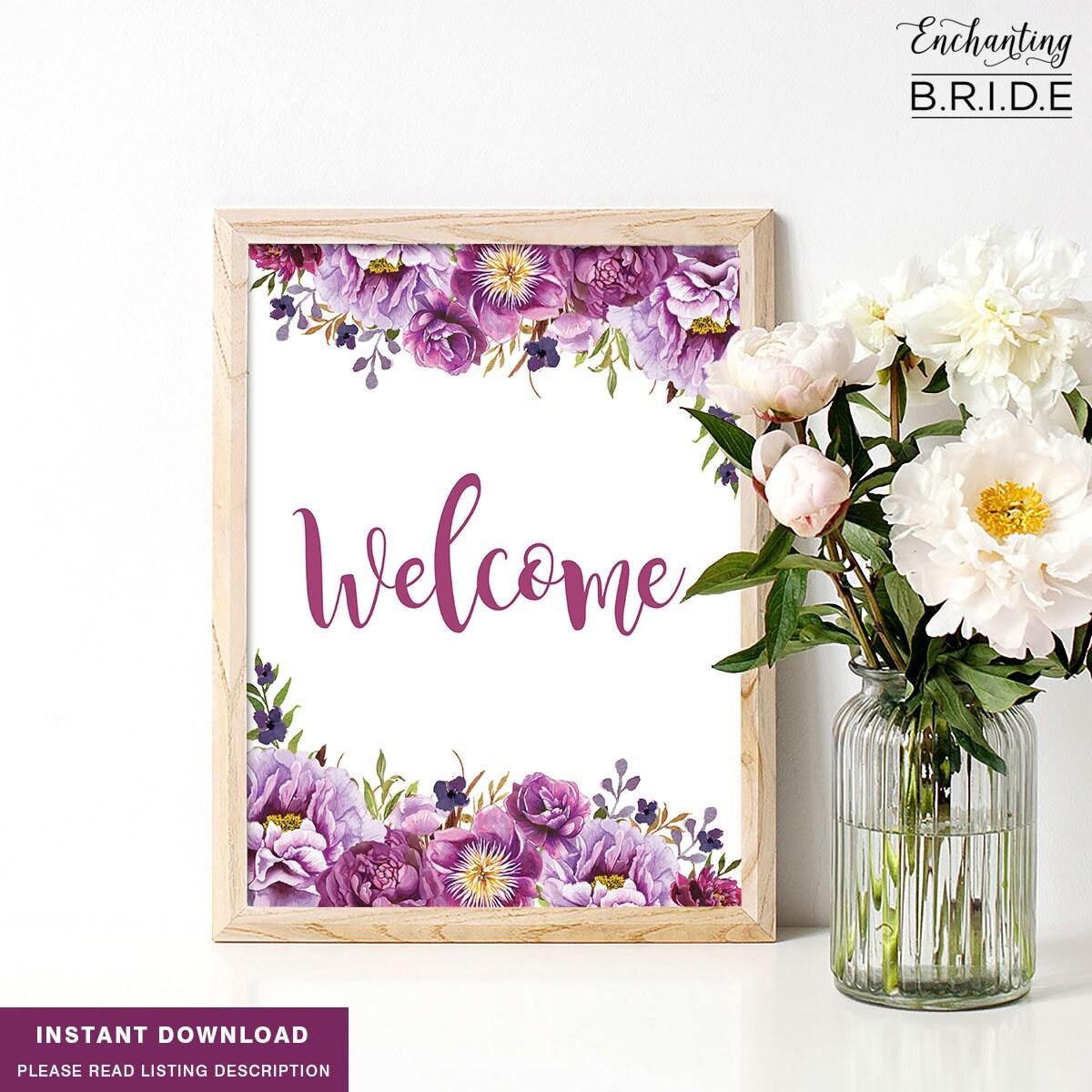 Boho Bridal Shower Welcome Sign, Purple Floral Bachelorette Party ...