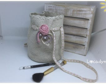 Kit pouch toilet bag Make-Up flowers crochet Beige and Rose-created and is hand gift young girl or woman-cotton ribbon flowers and beads