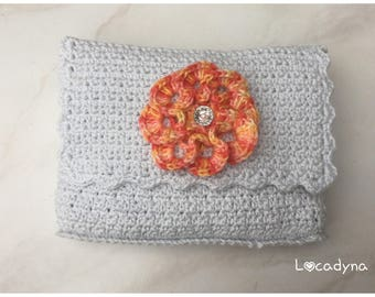 Bag crocheted flap blue light-orange flower - button Pearl White-gift wife daughter birthday party-Hand Made Crochet Pouch Bag