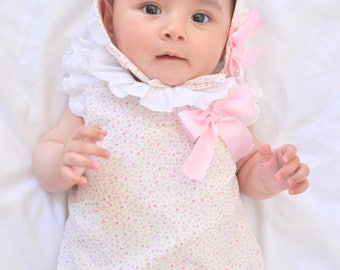 Liberty flower baby dress and bonnet - Opiquet