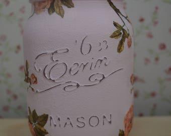 Pink Vintage Rose Eerin Mason Jar 500ml