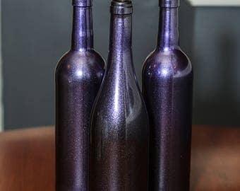 Set of Three Ultra Violet Wine Bottles