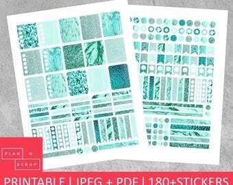 ECLP Stickers, Erin Condren, Printable Planner, Planner Stickers, Planner Accessories, Life Planner, Mint, Foil, Printable, Digital, Instant