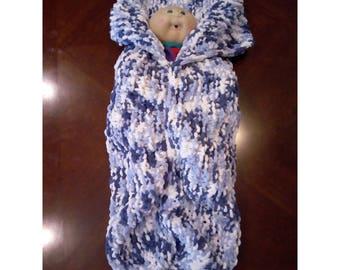 Hand-knit newborn snuggle sack