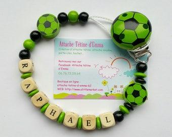 Green football pacifier clip