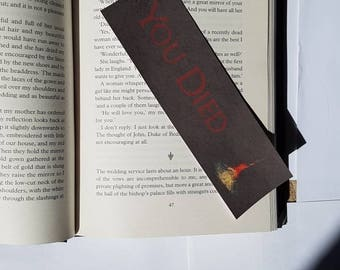 YOU DIED. Bonfire bookmark. Laminated bookmark.