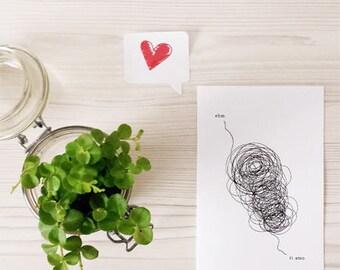"""Illustrated card """"ER... I love You"""""""