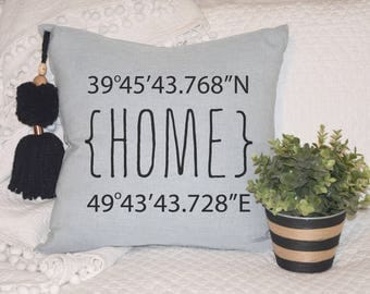 light blue pillow, modern home decor, housewarming gift, entryway cushion, longitude latitude, coordinates pillow, free shipping, new home