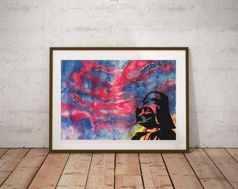 Watercolor Darth Vader, Star Wars, Watercolor Painting, art, wall art, kids decor, handmade original watercolor, wall decor