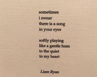 Liam Ryan's Signed Poetry Print Outs