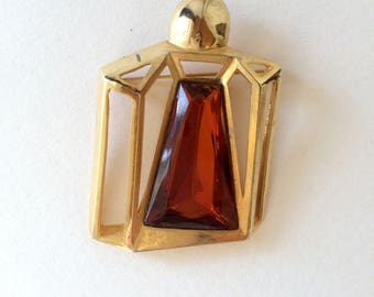 GUERLAIN, signed on the back, rare, AMBER RHINESTONES on gold tone brooch perfume bottle