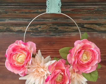 Peach & Pink Peony Floral Silver Metal Wreath 6 inches