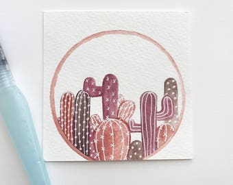 Cacti Terrarium in Browns with White