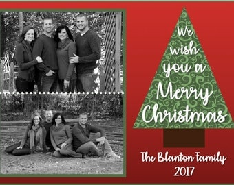 We wish you a Merry Christmas, Christmas Card, Customizable size and color