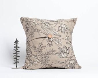 20 x 20 pillow, toss cushion, throw pillow, wood button, button, pillow with button