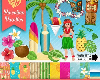 Hawaiian Vacation FULL KIT (papers and clip art)