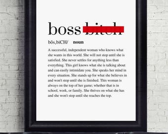 Boss B*!ch Definition, Quote Print, Digital Download, Printable, Typography Print, Motivational Print, Boss Lady, Boss Babe, Printable Art