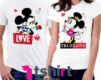 True Love Disney Matching Shirts. Minnie and Mickey Couples T-Shirts. Disneyland Matching Shirts. Disney Valentines Day. Honeymoon t shirts