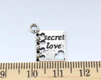 2 Secret Love Book Charms - Secret Love Book Pendant - EF00134