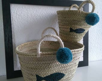 Beach baskets duo hearty, like mother like daughter, fish and tassel