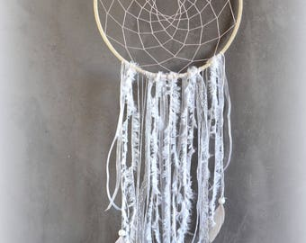 Dream dreams dreamcatcher string Wool Lace feathers and pink thread