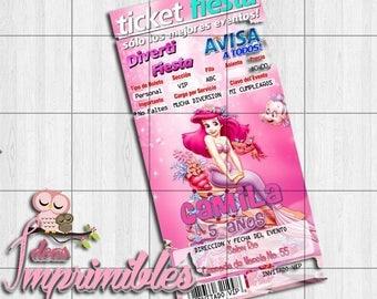 Invitation type TicketMaster Ariel the mermaid Editable printable