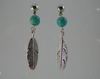 "Earrings ""Feather and turquoise"""