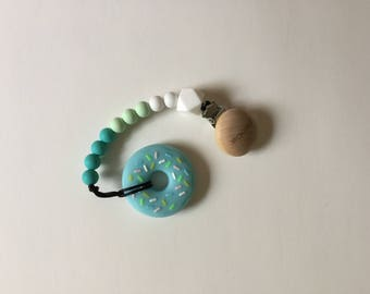 Donut Teether \\ 100% Food Grade Silicone \\ Pacifier Clip \\ Non Toxic \\ BPA Free