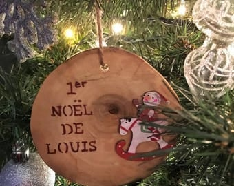My first Christmas wooden Christmas ball / ornament personalized