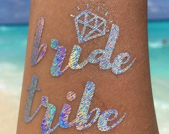 Bachelorette tattoo HOLOGRAM & GOLD 12 pcs ( 6 hologram, 6 Gold with 1 bride and 5 bride tribe tattoos each)