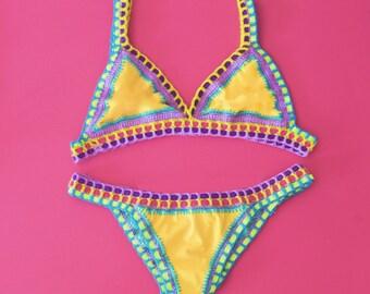 Free Shipping Reversible Bikini! Crochet Trim Swimwear Custom Made Handmade Gifts for Her