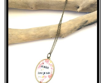 """Original """"I rattle so I am"""" necklace cabochon, cameo, camay, humor, cocktail, tropical, pineapple"""