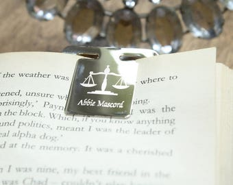 Square Silver Bookmark Hand Engraved, Own Gift Message Text Brithday Christmas Special Gift Present.