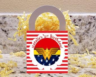 Wonder Woman Treat Boxes, Wonder Woman Popcorn Boxes, Wonder Woman Candy Bags, Wonder Woman Candy Boxes