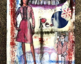 "Red She Said - Original Encaustic Mixed Media Collage - 4"" x 6"""