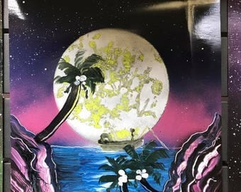 Spray Paint Art - Moon Rise and Fishing Trips