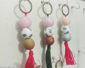 Clay Tassel Keychain | Cactus Bead