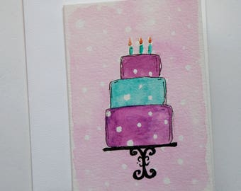 Hand Painted Watercolor Birthday Cake Greeting Card