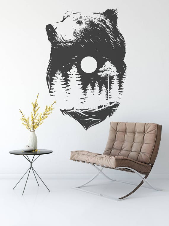 Forest Bear - Wall decals for magical minds, Many colors and Sizes available, Mystic collection, Nature Spirit, Indian Culture