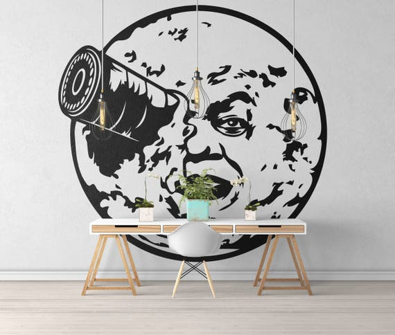 Trip to the Moon inspired wall decal / sticker - Wall decals for magical minds, Cinema decals and Stickers, Magical minds collection