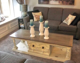 Cream, Sage And Wood Stained Vintage Coffee Table, Hand Painted, Chalk  Paint,
