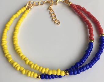 Pulsera de Colombia, Colombian Bracelet, Colombian flag,Bracelet, Flag of Colombia Bracelet, Colombia jewelry, Manilla de Colombia.