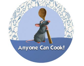 Ratatouille Remy Anyone Can Cook Button - Remy Button - Disney Inspired Button - Theme Park Pin - Disney Inspired Pin