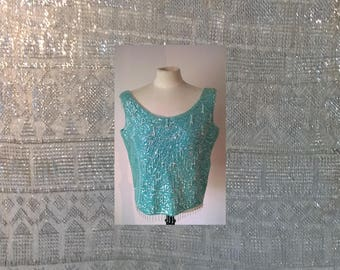 vintage blue ladies top, beads and sequins,  1950's, pamur, made in the british empire