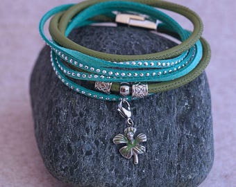 Nappa - and suede - green/turquoise wrap bracelet