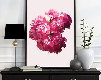 Pink peonies printable digital art instant download