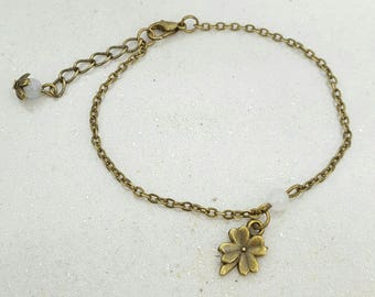 Clover bracelet - Bronze Metal - Perle Rose Quartz