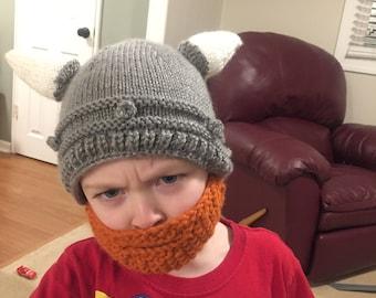 Viking Helmet Hat with Beard PATTERN