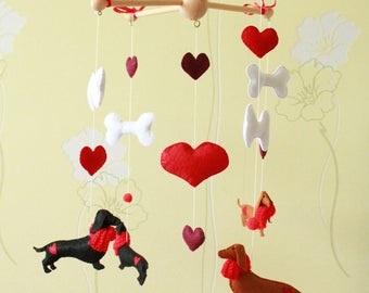 Dachshund baby mobile, dogs mobile, animals crib mobile for children